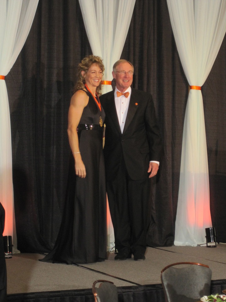 Michele and OSU President Burns Hargis at Alumni Association Hall of Fame Induction