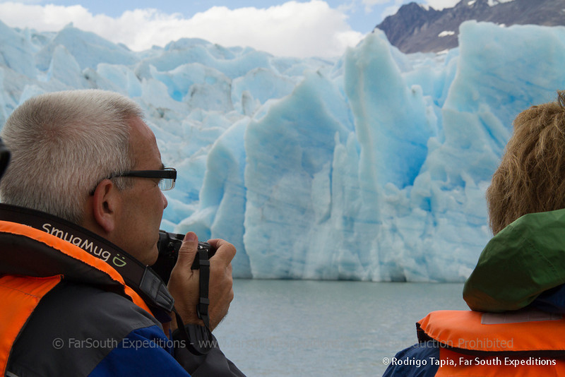 Photographing Grey Glacier, Torres del Paine National Park, Patagonia, Chile