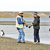 Our guests Christine Gattuso, Robert and Karen Debell enjoying the tameness of the King Penguins