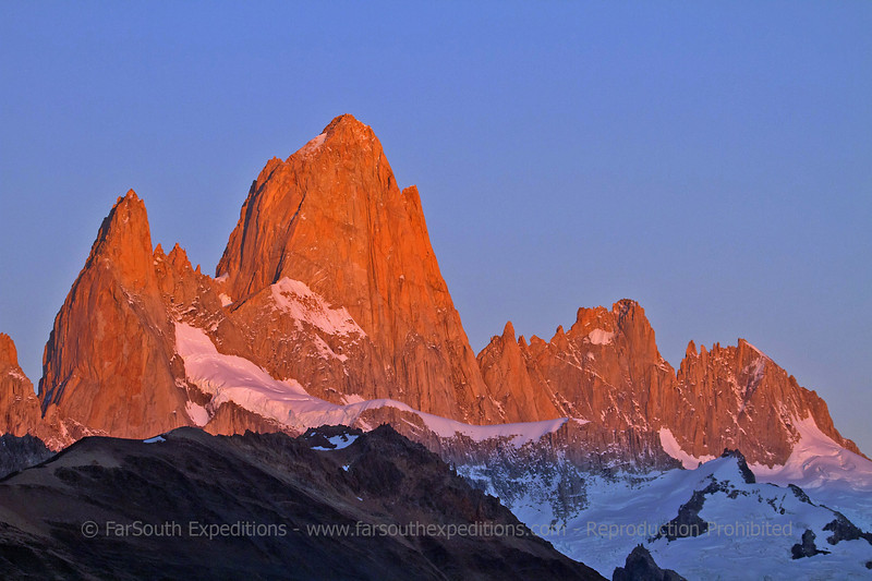 Mount Fitz Roy at sunrise, from El Chalten, Santa Cruz, Argentina