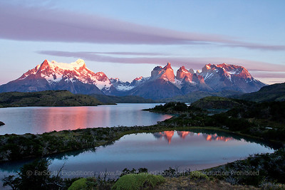Sunrise at Pehoe Lake and Paine Massif, Torres del Paine National Park, Magallanes, Patagonia, Chile
