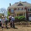 Illinois First Lady Diana Rauner and others break ground on the Executive Mansion restoration project.