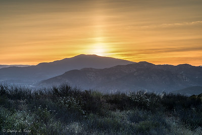 Sunrise behind Cuyamaca Peak