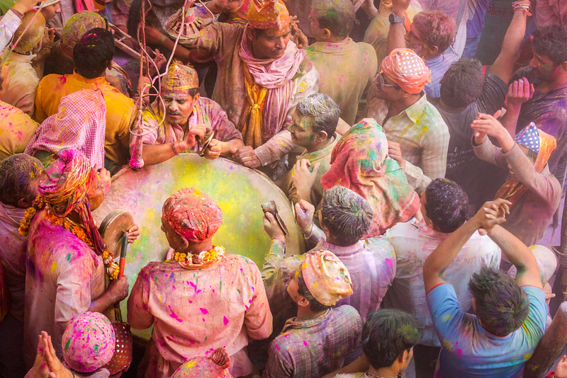The Holi Festival is color bliss for photographers, but it is also deeply spiritual for many participants. Celebrating Holi in this Mathura, India, Hindu temple has a musical dimension as well.