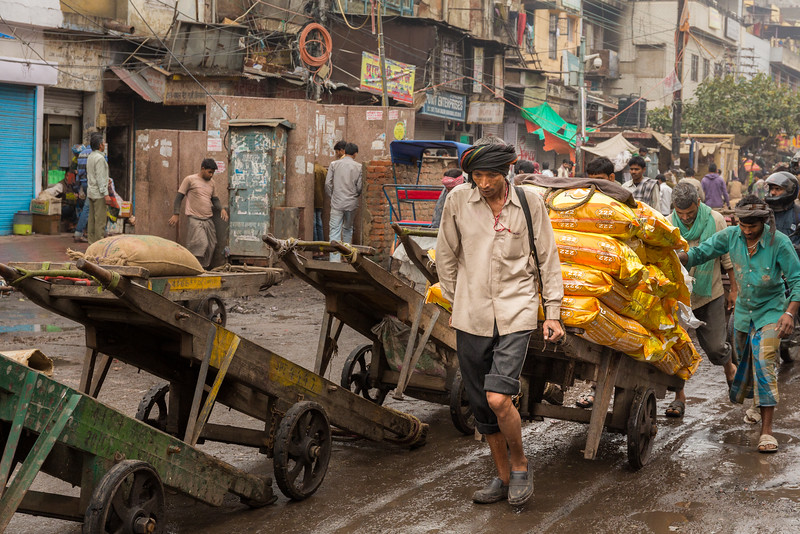 The gritty streets of Old Delhi, India, where much of the transportation is people-powered.
