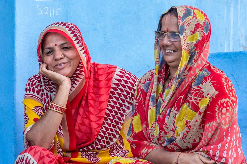 "Happy women in Jodhpur, India, the ""Blue City""."