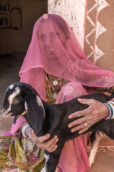 This woman's colorful clothes and a well-cared-for goat belie the stark Thar desert landscape of this part of Rajasthan, India.