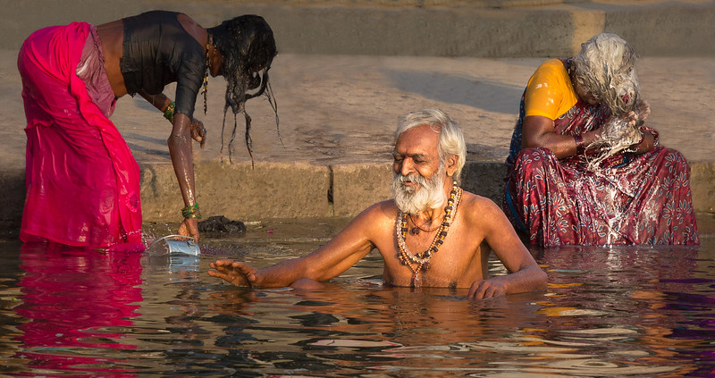 The Ganges River is holy water for Hindus, and bathing in the river is a sacred moment. The river also meets the more ordinary daily needs of tens of millions of Indians, including these in Varanasi.