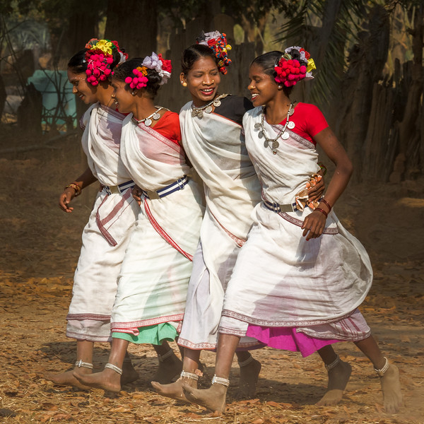 Joyous Muria tribal dancers in Kanker.