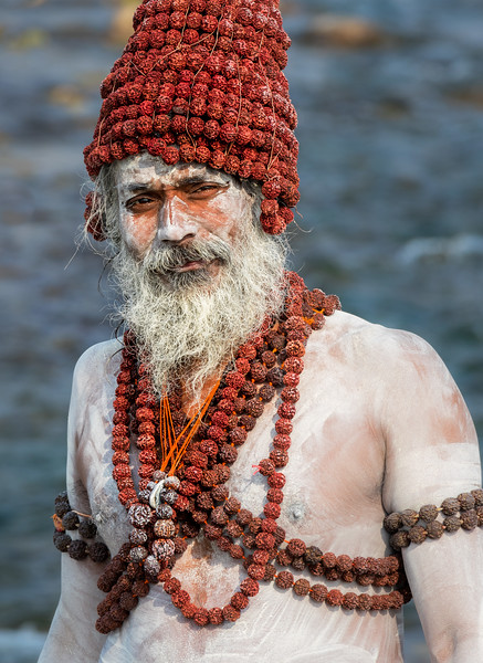 Connecting with Reverence -- Sadhus. In the Hindu faith, sadhus are religious ascetics who dedicate their lives to renunciation of self, often through meditation. One symbol of this renunciation is saffron-colored clothing; another symbol is covering their bodies with a special type of ash, especially after a bath in the sacred waters of the Ganga (or Ganges) River, as this sadhu has just done. Most of images in this set were created in Haridwar during a Kumbh Mela festival.