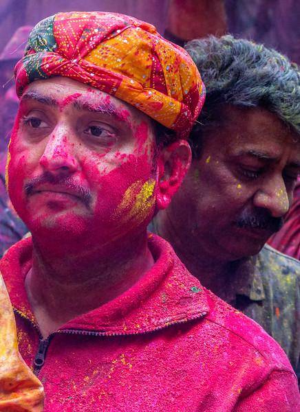 Vrindavan, India. Pensive Holi participants.