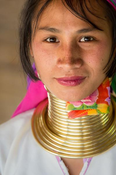 Chiang Rai Province, Thailand. A young Padaung Karen woman.