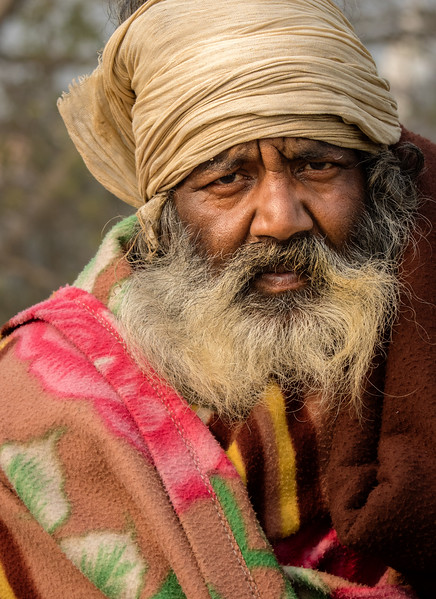 Haridwar, India. A sadhu drawn to Haridwar by a Kumbh Mela festival.