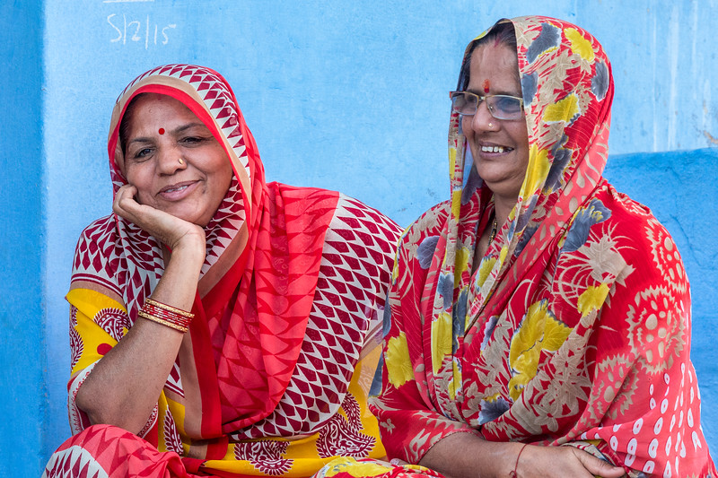 "Jodhpur, India. Happy women against blue walls; in fact, Jodhpur is known as the ""Blue City""."