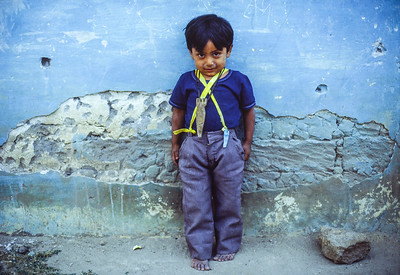 Little Boy Against Blue Wall, San Bartholomé el Quiche, Guatemala 1986