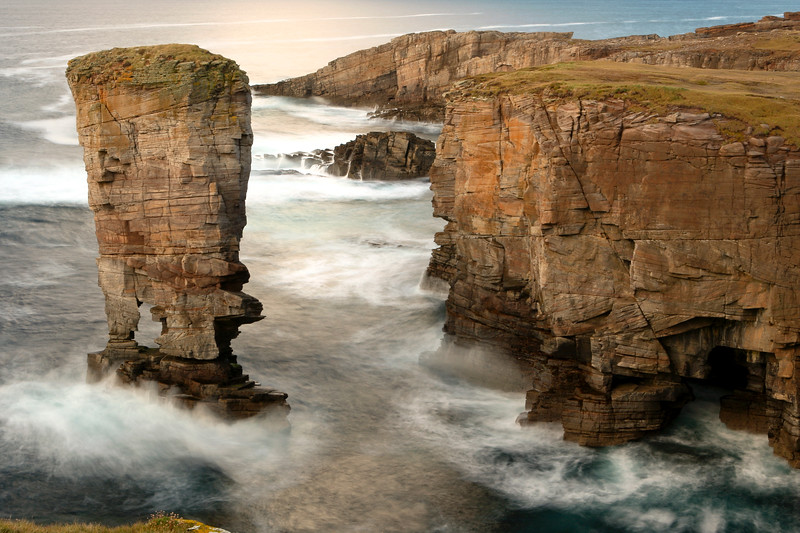 Orkney Yesnaby Stack in rough seas