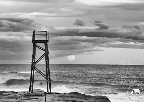 Sharktower Moon Rising at Redhead beach