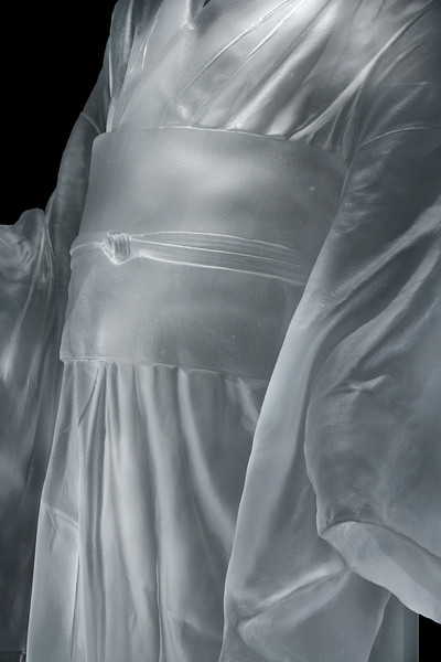 "Detail of sculpture of Child's Kimono 43"" x 20"" x 17"", 2009, Cast Glass"