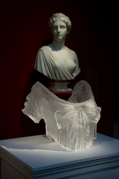 Contemporary bust sculpture installed in the neoclassical gallery of the Chrysler Museum