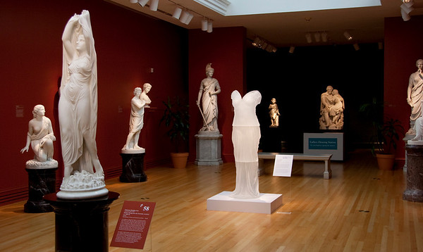 Transhistorical installation of contemporary artwork in neoclassical sculpture gallery