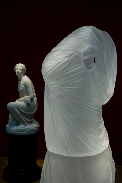 Detail of Undine, sculpture of glass dress at the Chrysler Museum