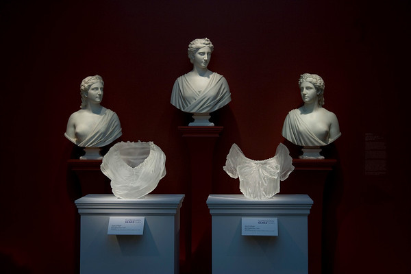 Transhistorical installation of contemporary artworks with neo-classical busts at the Chrysler Museum | Karen LaMonte Contemporary Amongst the Classics