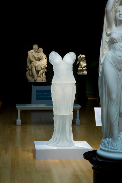 Contemporary sculpture of glass dress installed in the neoclassical gallery of the Chrysler Museum