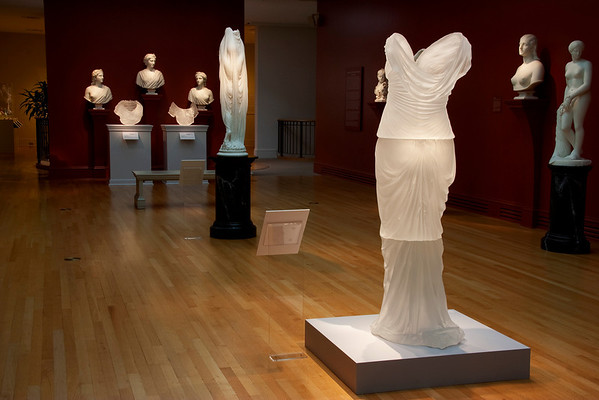 Exhibition of neoclassical marble artworks with contemporary sculptures by Karen LaMonte