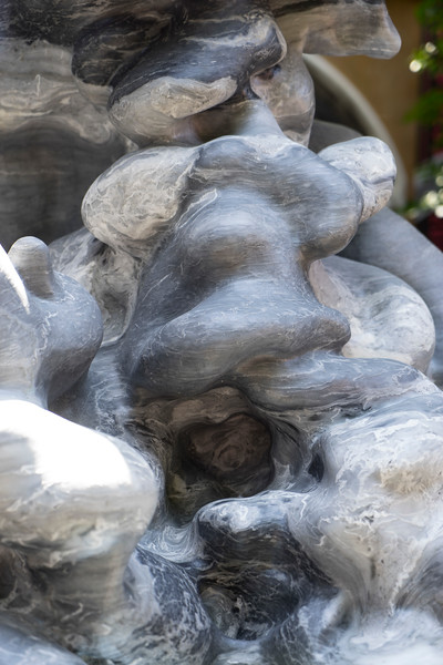 Detail showing the marble of LaMonte's monumental sculpture of a cloud, Cumulus