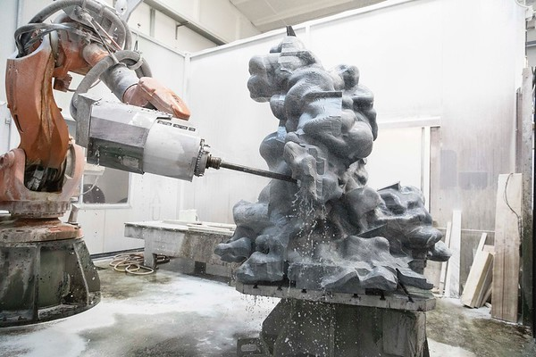 Cloud sculpture being carved in marble by  a giant robot | Karen LaMonte