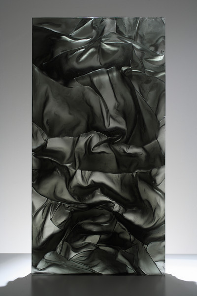 "Back view of Ink in Water Drapery Study sculpture by Karen LaMonte in glass 2008 – 28"" x 36"" x 2"""