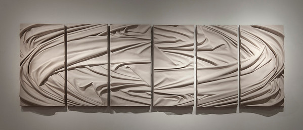 Vortex is a monumental abstract drapery sculpture – an exploration of landscape and weather in ceramic by Karen LaMonte