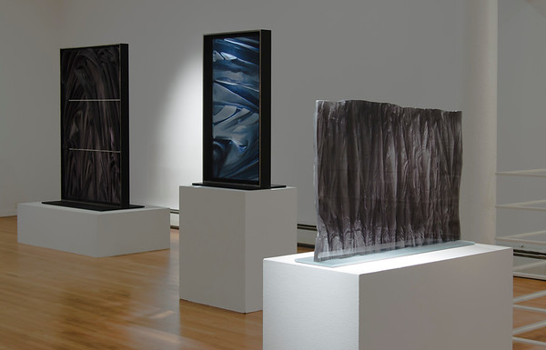 Installation of drapery artworks in cast glass by Karen LaMonte