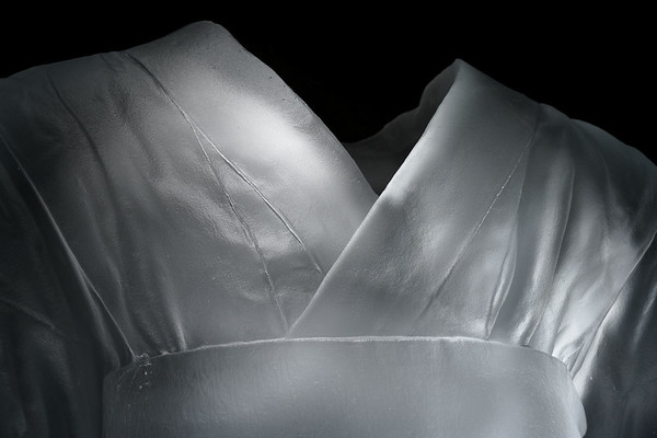 "Detail of life-size sculpture of Child's Kimono 43"" x 20"" x 17"", 2009, Cast Glass"