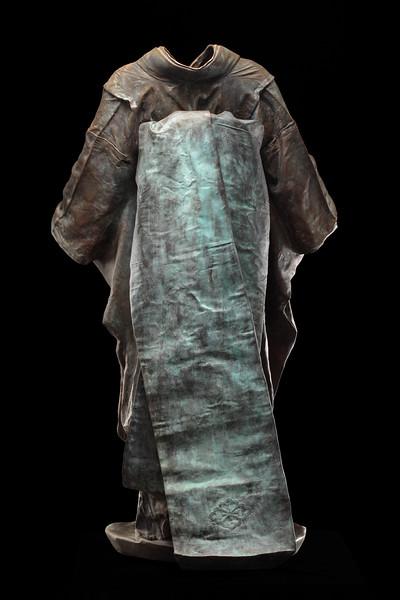 """Maiko is a bronze life size kimono sculpture  52"""" x 32"""" x 22"""" 2011"""