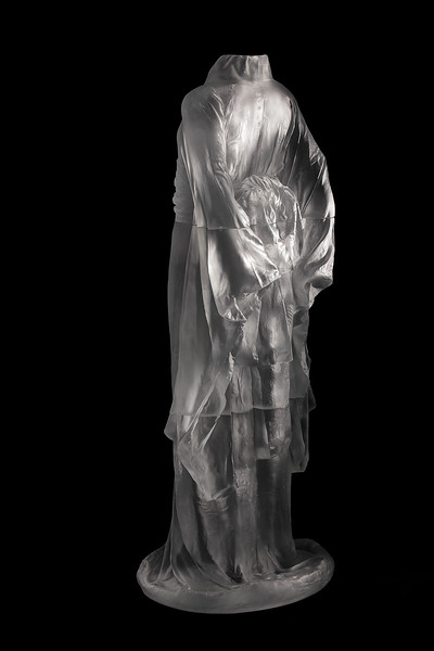 "Kimono sculpture Hanako is a contemporary investigation of identity  Cast glass, 2012, 48"" x 20"" x 17"""