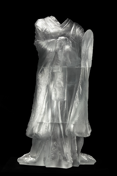 "Kabuki is a sculpture of a kimono asking complex questions about beauty and identity  Cast Glass 60"" x 32"" x 33"""