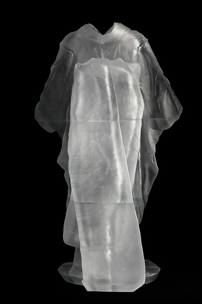 "Contemporary artwork of life-size kimono sculpture with absent body called Maiko  52"" x 31.5"" x 22.5"" 2010, Cast Glass"