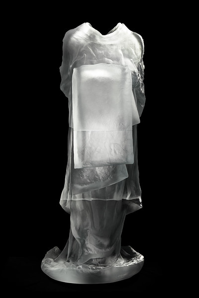 "Back of Bijin, a sculpture of a kimono in glass 53"" x 22"" x 26"""