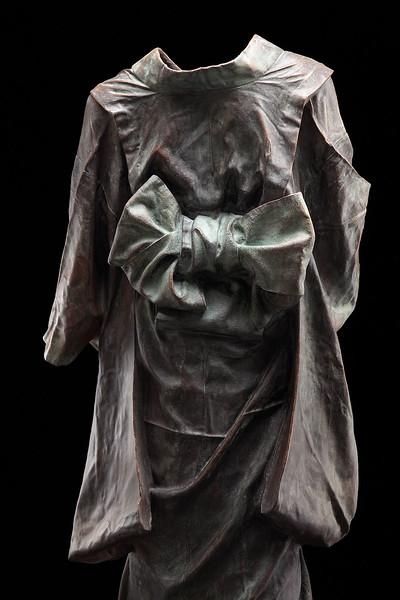 "Detail of Child's Kimono, a bronze sculpture by contemporary artist Karen LaMonte 43"" x 29"" x 15"" 2011"