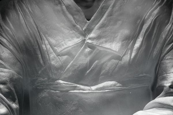 "Bijin is a sculpture of a kimono in glass 53"" x 22"" x 26"""