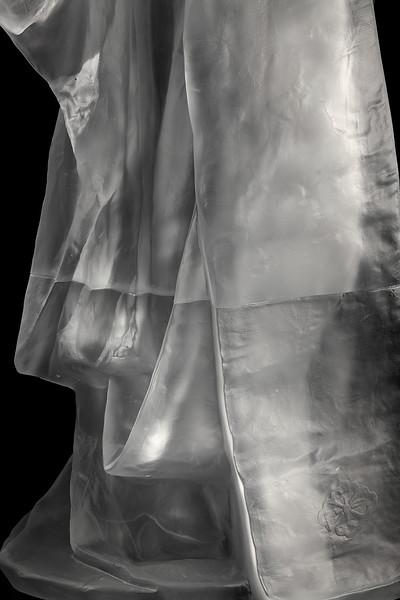 "Detail of kimono sculpture Maiko  52"" x 31.5"" x 22.5"" 2010, Cast Glass"