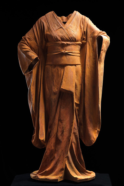 "Odoriko is a cast iron sculpture of a kimono  54"" x 30"" x 17"""