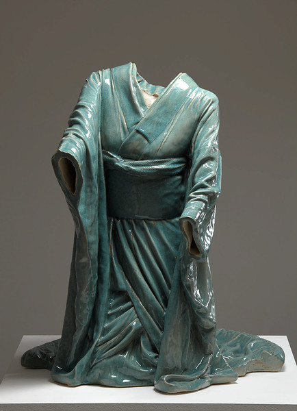 "Contemporary sculpture of kneeling kimono for tea ceremony in ceramic with celadon glaze called Chado 39"" x 34"" x 32"" 2010"