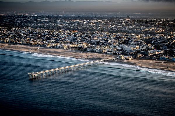 Aerial Image of the Hermosa Beach Pier, Hermosa Beach Photography