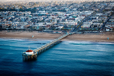 Aerial Photograph of the Manhattan Beach Pier, Manhattan Beach California
