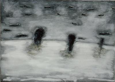 oil on prpeapred paper, image 52 x72 cm framed 72 x92cm 1996