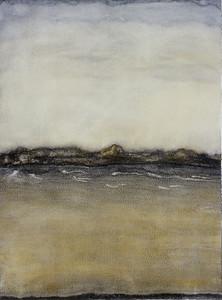 Boundary, oil on prepared paper, image 72 x52 cm Framed 92 x72 cm 1996