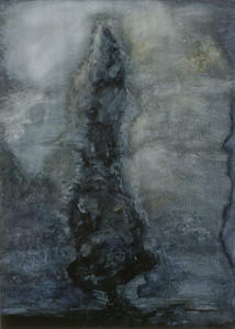 Eliza's Departure, oil on prepared paper, image 72 x52cm Framed 92 x72 cm 1995