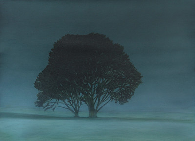 Winter Evening, oil on prpeapred paper, image 52x72cm Framed 72 x92 cm 2009